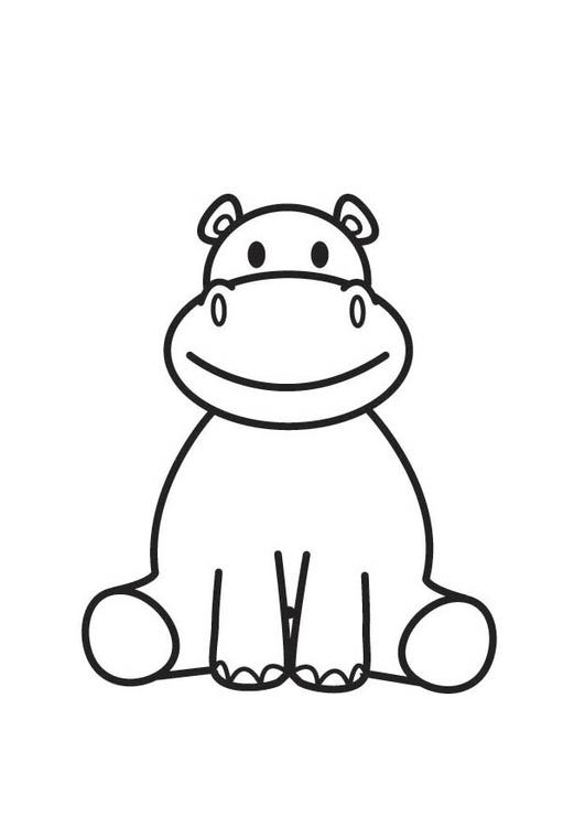 Coloriage hippopotame img 17579 - Dessin d hippopotame ...