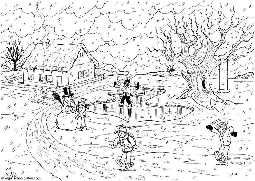 Coloriage hiver img 5145 for Paesaggi semplici da disegnare