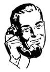 Coloriage homme au téléphone