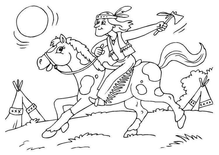 Coloriage Cheval Indien.Coloriage Indien Sur Cheval Img 25970