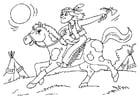 Coloriage Indien sur cheval