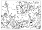 Coloriages invasions de grenouilles