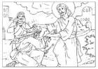 Coloriage Jésus guérit