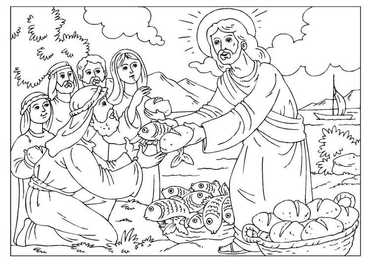 Coloriage Jesus Partage Le Pain Et Le Poisson Coloriages Gratuits A Imprimer Dessin 25924