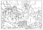 Coloriage Jésus partage le pain et le poisson