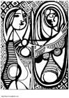 Coloriage Jeune fille devant un miroir