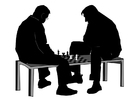 Coloriage jouer à un jeu d'échecs