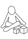 Coloriage jouer avec les cubes