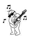 Coloriage jouer de la guitare