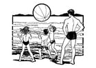 Coloriage jouer sur la plage