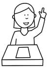 Coloriage l'élève soulève la main