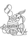 Coloriage Lapin de Pâques avec oeuf de Pâques
