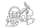 Coloriage Lapin de Pâques avec panier de Pâques