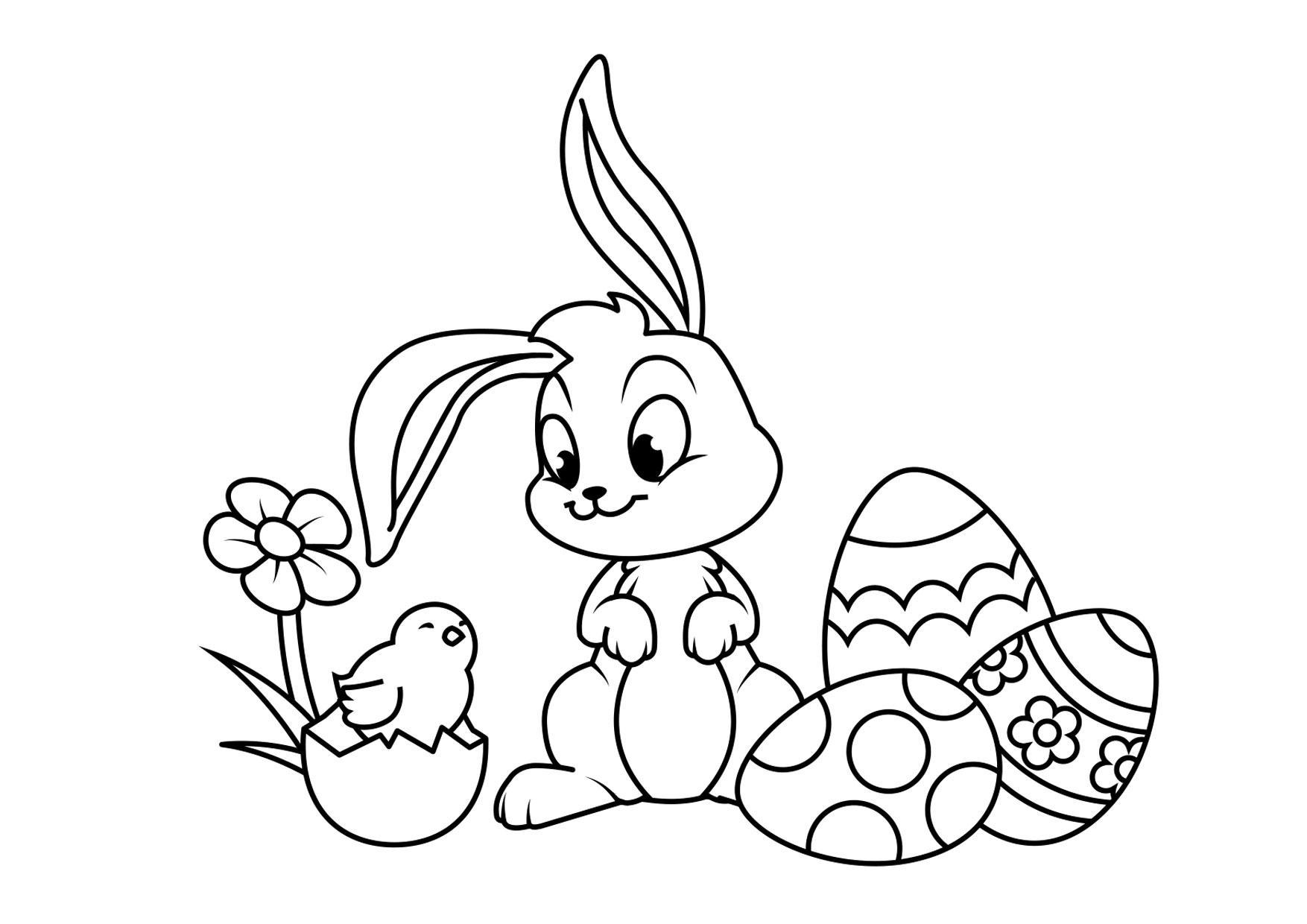 coloriage lapin de pâques avec poussin  coloriages