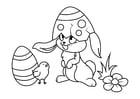 Coloriage Lapin de Pâques avec poussin