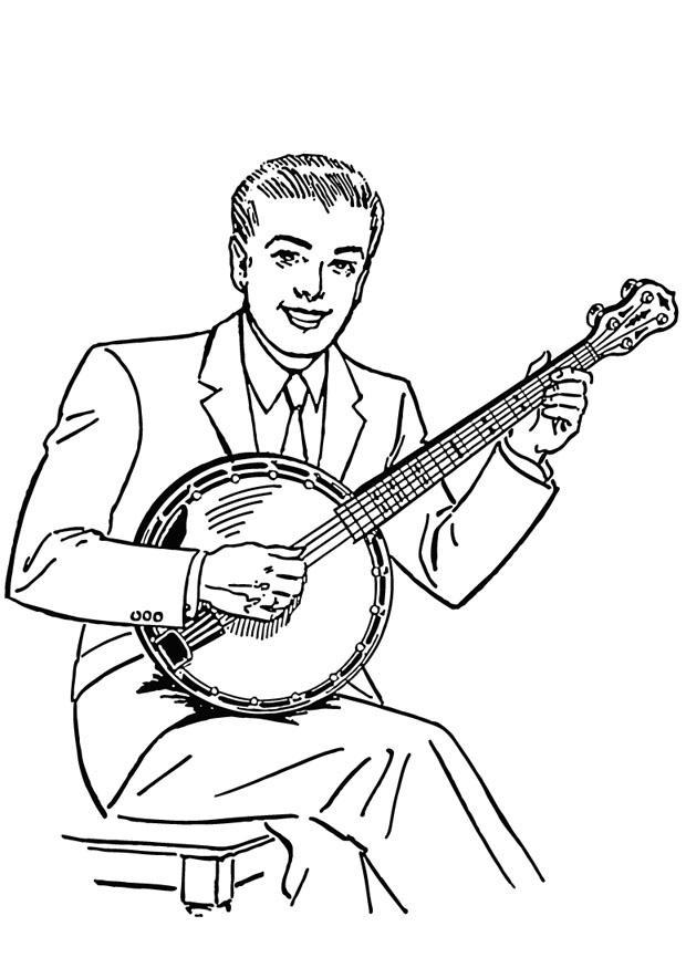Trouwen Kleurplaat Coloriage Le Banjo Coloriages Gratuits 224 Imprimer