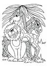 Coloriage le lion, la girafe et le zèbre