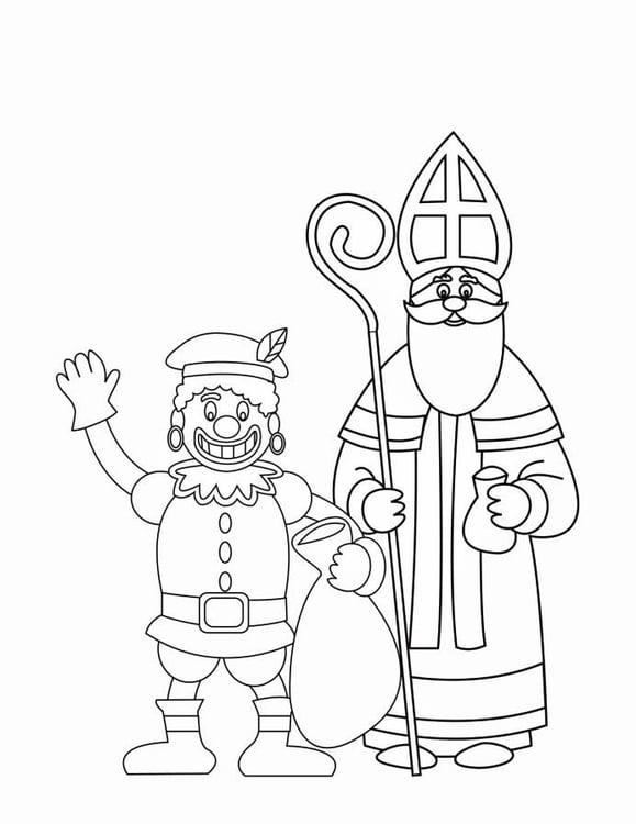 Sinterklaas Kleurplaat Peuters Schoen Coloriage Le P 232 Re Fouettard Et Saint Nicolas Coloriages
