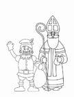 Coloriage Le Père Fouettard et Saint Nicolas