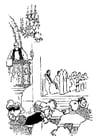 Coloriage le prêtre qui prêche