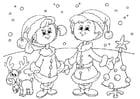 Coloriage le réveillon de Noël