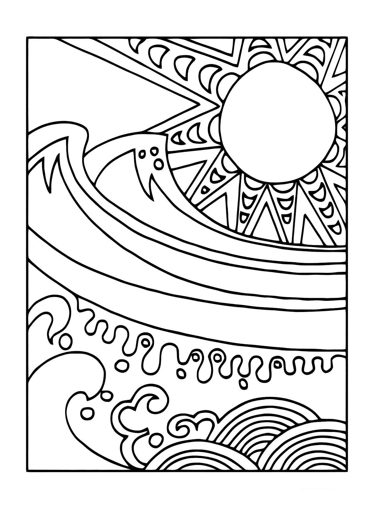 coloriage le soleil et la mer i