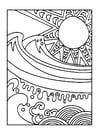 Coloriage le soleil et la mer