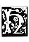 Coloriage lettre, décoration - H