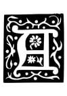 Coloriage lettre décorative - A