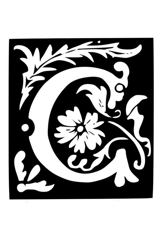 Coloriage Lettre Décorative C Coloriages Gratuits à Imprimer