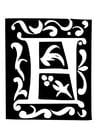 Coloriage lettre décorative - F