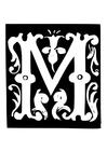 Coloriage lettre décorative - M