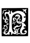 Coloriage lettre décorative - R