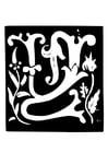 Coloriage lettre décorative - W