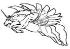 Coloriage licorne volante