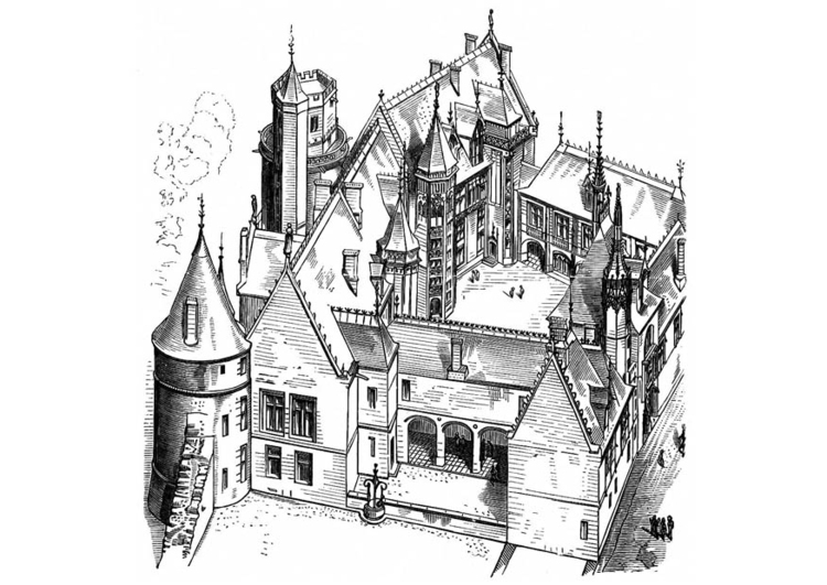 Coloriage Maison en France - bourges 1443
