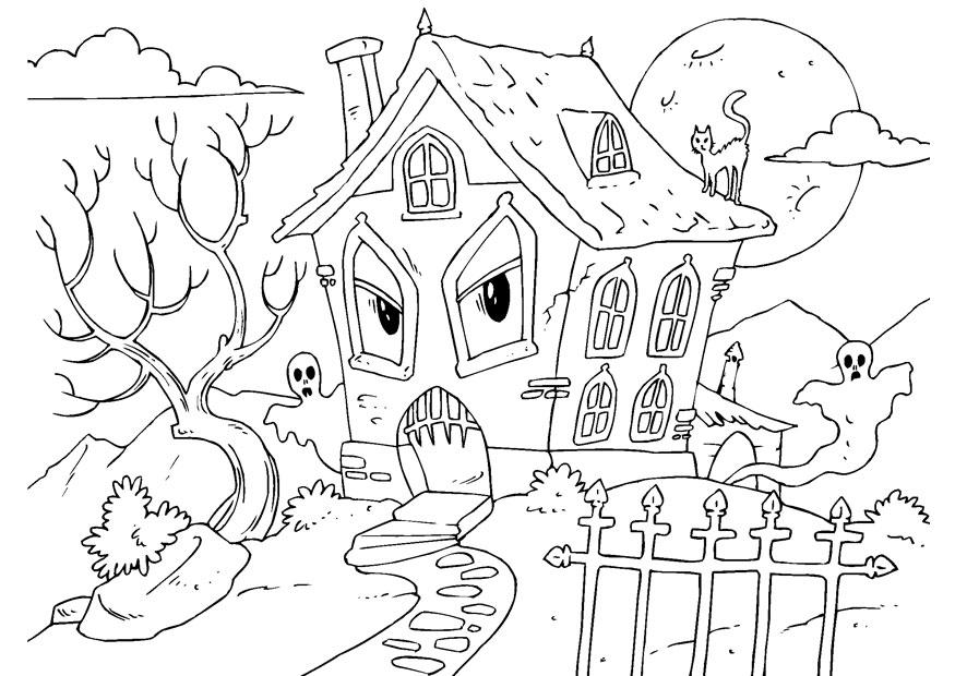 halloween scenery coloring pages - photo #14