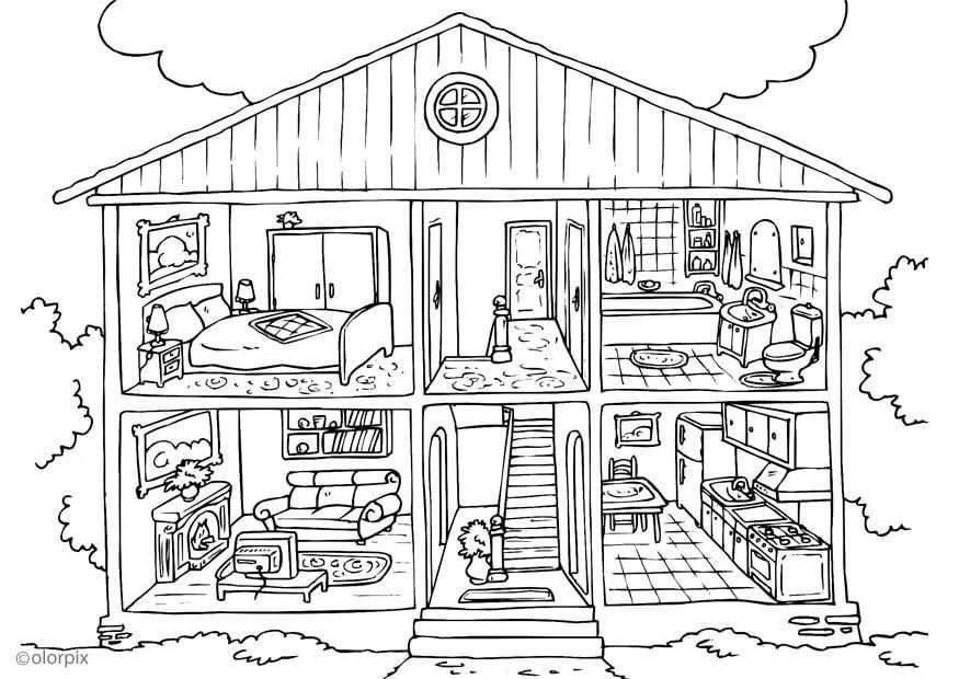 Coloriage maison int rieur img 25995 - Dessin d interieur de maison ...