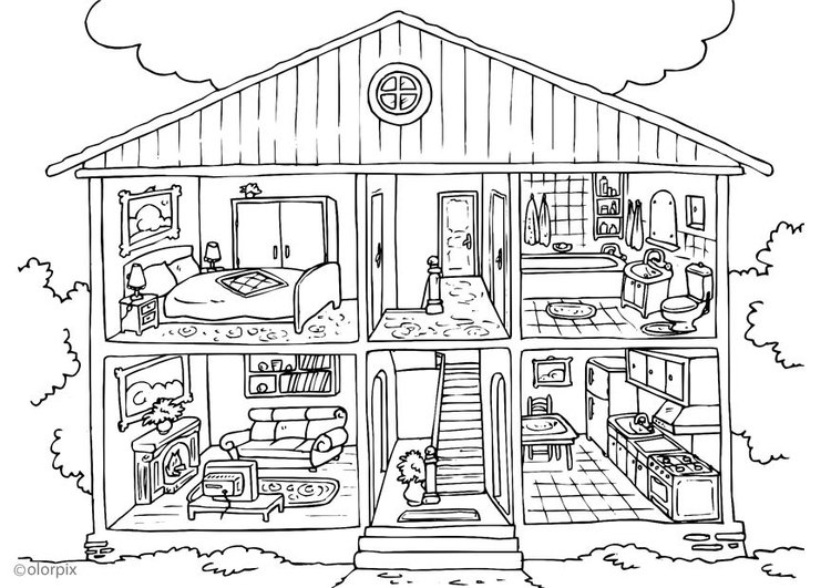 Coloriage maison int rieur img 25995 for Dessin maison