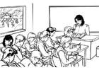 Coloriage maîtresse de la classe