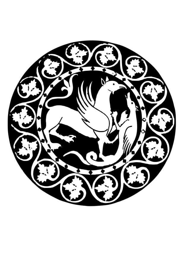 Coloriage mandala avec griffon et dragon img 26351 images - Mandala de dragon ...