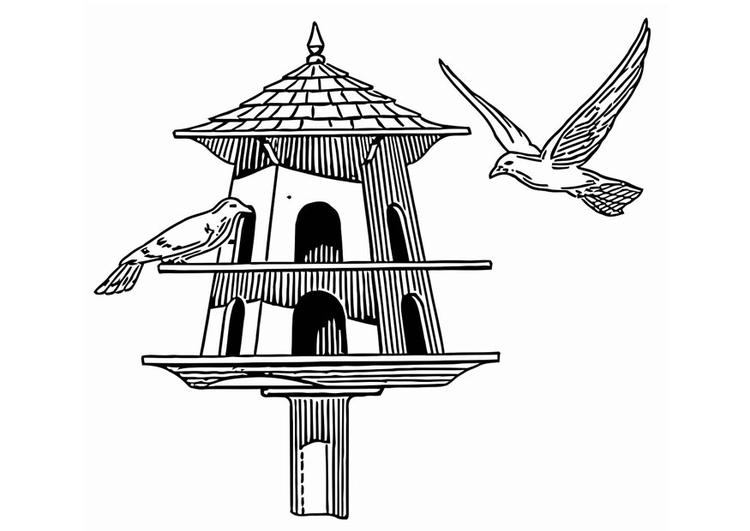 Coloriage mangeoire pour oiseaux img 20683 - Mangeoire pour oiseaux du ciel ...
