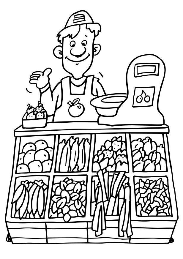 Line Art Jobs : Coloriage marchand de légumes img