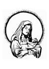 Coloriage Marie et Jésus