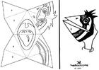 Coloriage marionnette d'oiseau