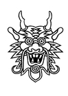 Coloriage masque de dragon