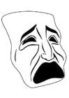 Coloriage masque - pleure