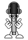 Coloriage microphone - écouter la musique