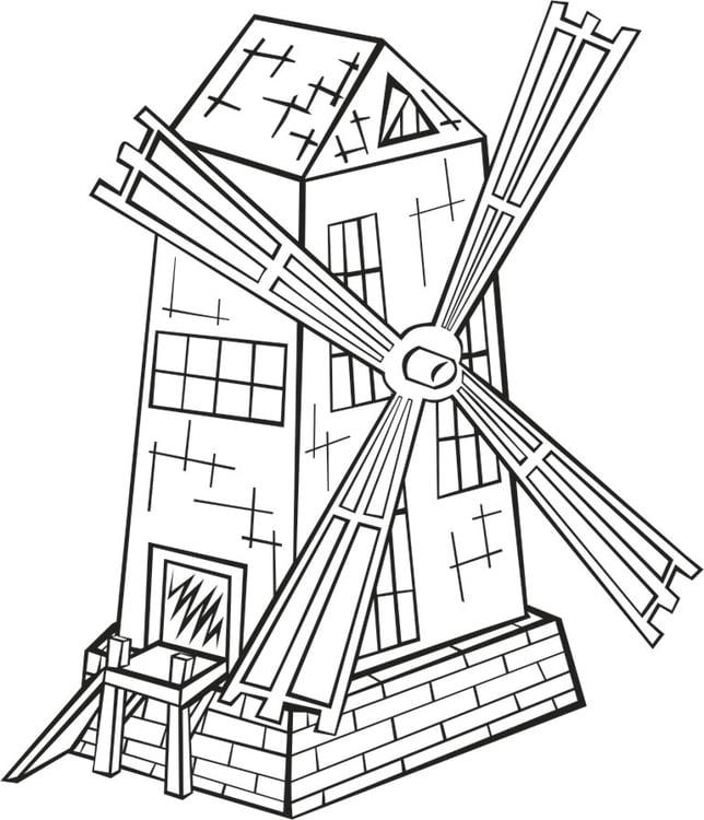 Coloriage Moulin à Vent Img 16203
