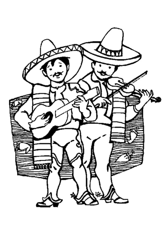 Coloriage musiciens mexicains